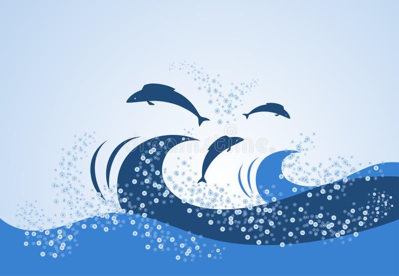 Die Fische springend über die Wellen lizenzfreie abbildung