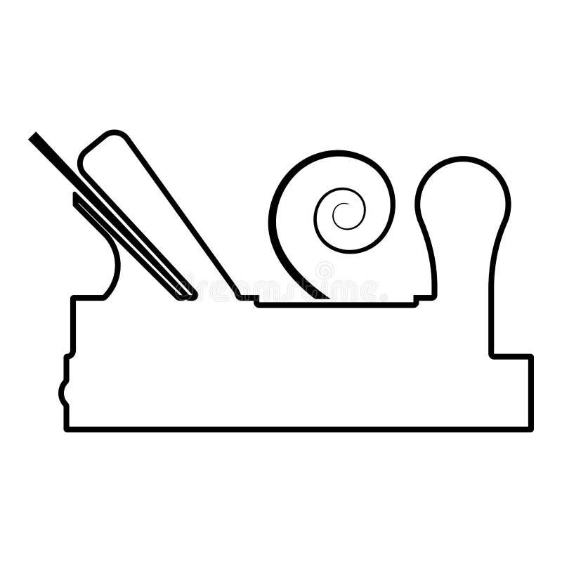 Die Fläche des Tischlers mit Holz mit dem Rasieren Ikonenschwarzfarbentwurfsvektorillustration des hölzernen Schreiners des flach vektor abbildung