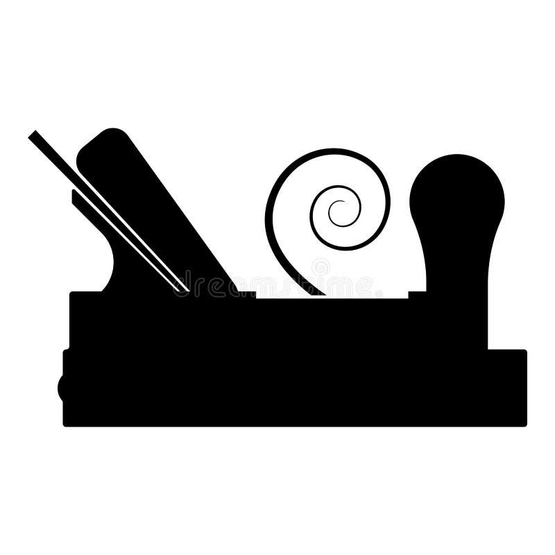 Die Fläche des Tischlers mit Holz mit dem Rasieren Ikonenschwarzfarbvektorillustration des hölzernen Schreiners des flachen Artbi lizenzfreie abbildung