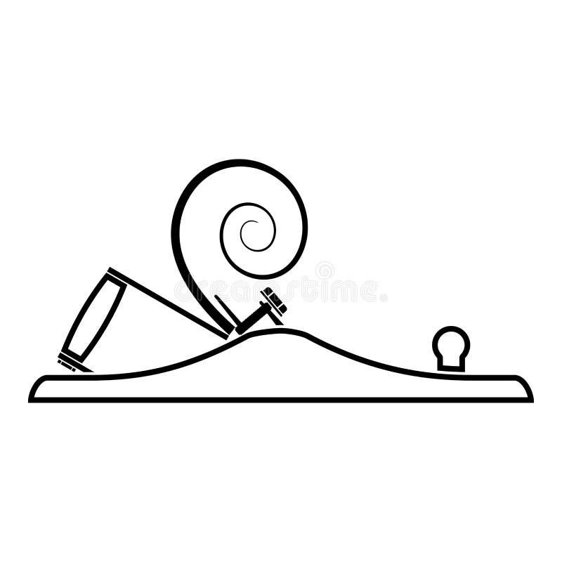 Die Fläche des Tischlers mit Metall mit dem Rasieren Ikonenschwarzfarbentwurfsvektorillustration des hölzernen Schreiners des fla lizenzfreie abbildung