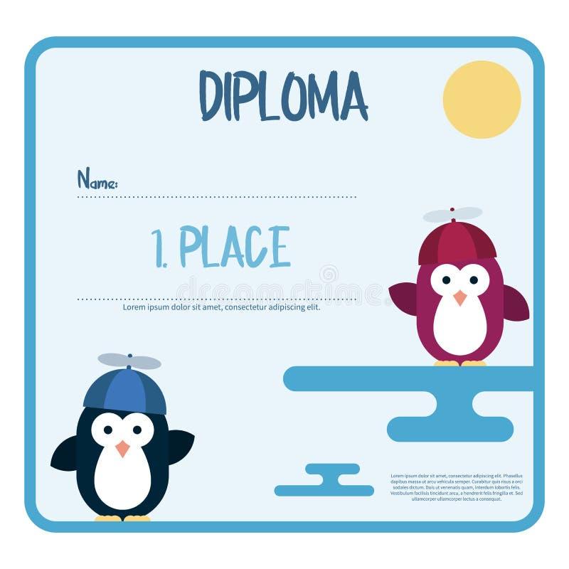 Die flache Schablone des Diploms verziert mit Pinguinen stilisierte als Kinder mit Propellerhut vektor abbildung
