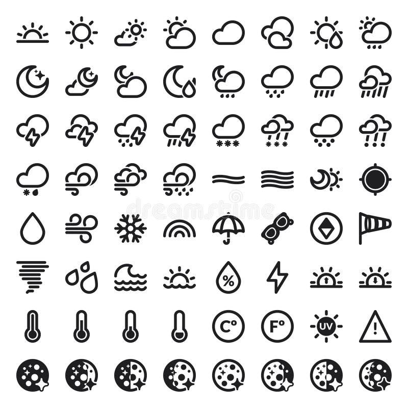 Die flachen Ikonen des Wetters. Schwarzes stock abbildung