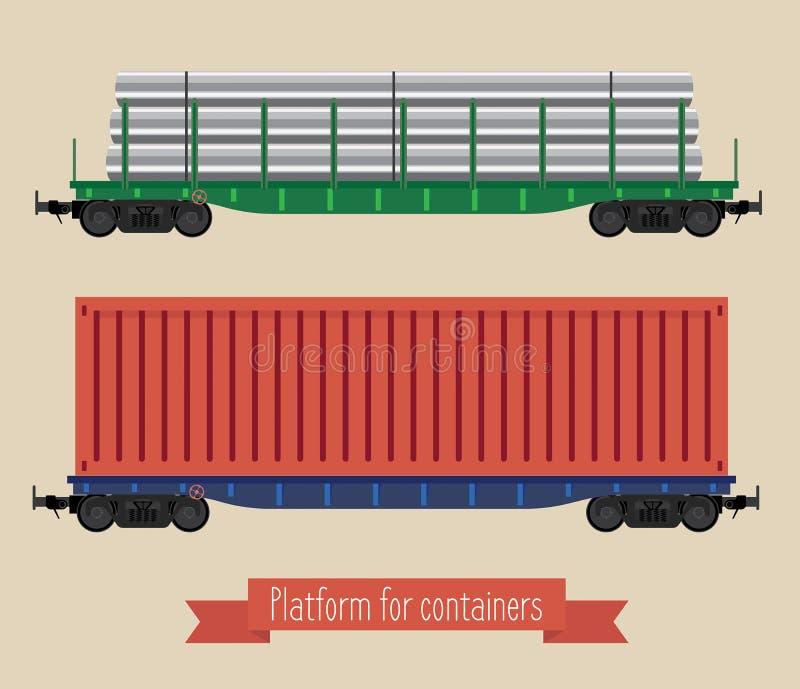 Die flachen Illustration Railcars lizenzfreie abbildung