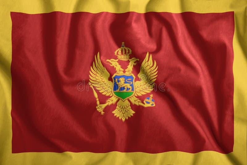Die Flagge Montenegros fliegt im Wind Farbenfrohe Nationalflagge Montenegros Patriotismus, patriotisches Symbol lizenzfreie stockfotografie