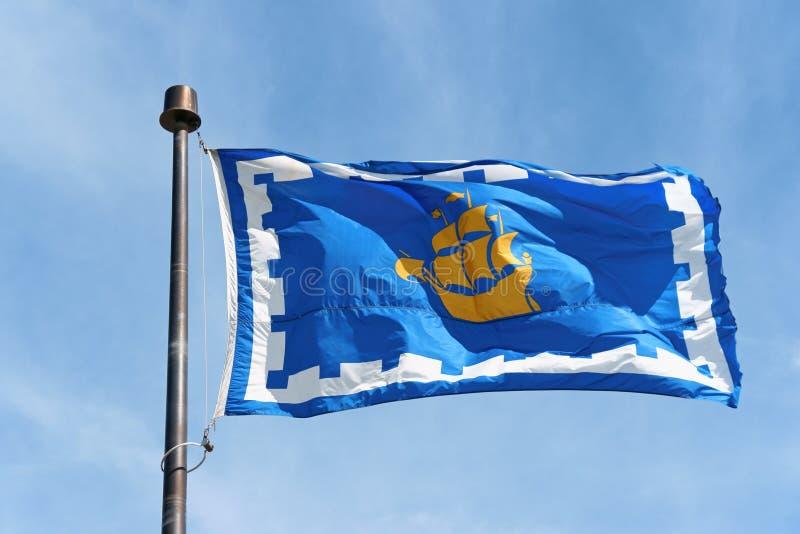Die Flagge von Québec-Stadt, Kanada lizenzfreie stockfotografie