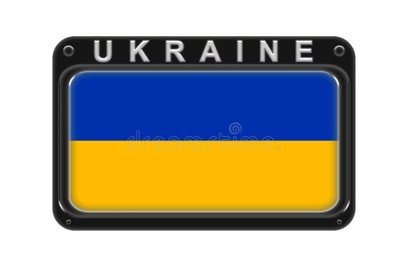 Die Flagge von Ukraine im Rahmen mit Nieten auf weißem Hintergrund lizenzfreie abbildung