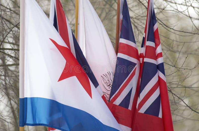 Die Flaggen der verbündeten Antihitler-Koalition im Zweiten Weltkrieg lizenzfreie stockbilder