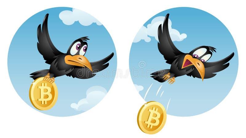 Die Fliegenkrähe lässt bitcoin fallen lizenzfreie abbildung