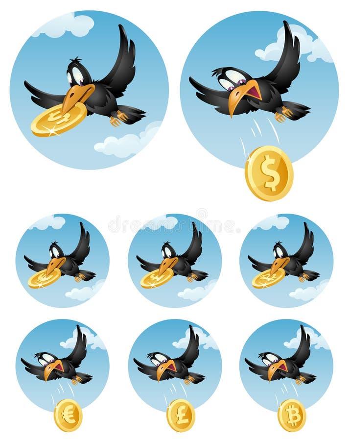 Die Fliegenkrähe lässt Symbol von verschiedenen Währungen fallen Dollar, Eu stock abbildung