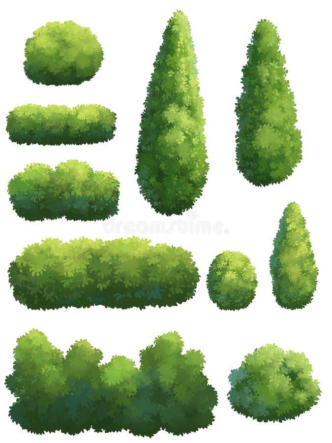 Die Form des Baums im Garten lizenzfreie abbildung