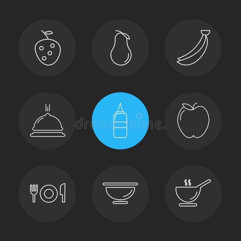 die Früchte, gesund, Gesundheit, Lebensmittel, Eignung, ENV-Ikonen stellten vecto ein stock abbildung