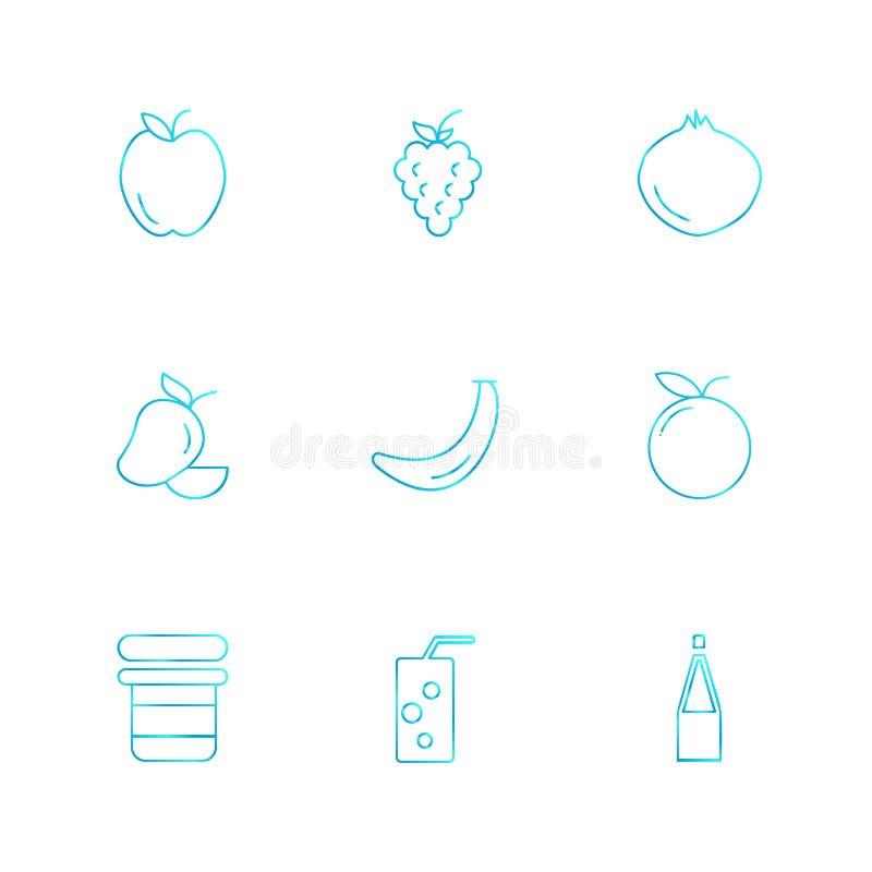 Die Früchte, gesund, Gesundheit, Nahrung, Eignung, ENV-Ikonen stellten Vektor ein vektor abbildung