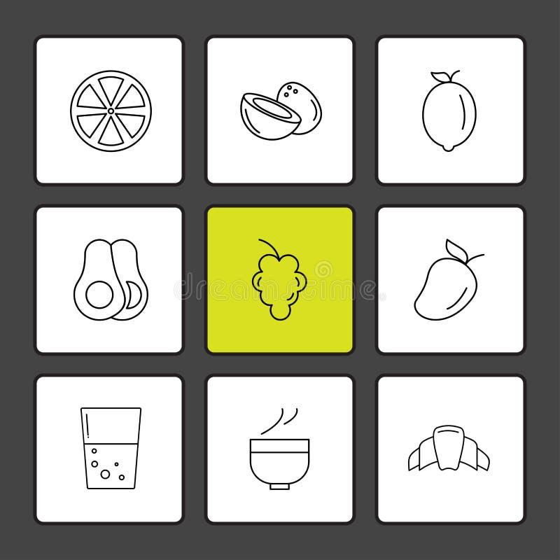 Die Früchte, gesund, Gesundheit, Nahrung, Eignung, ENV-Ikonen stellten Vektor ein stock abbildung