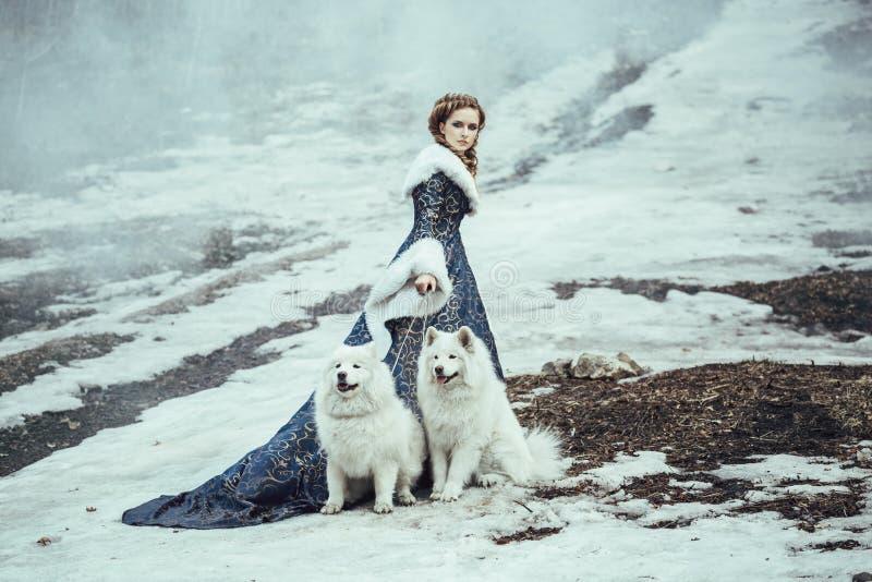 Die Frau auf Winterweg mit einem Hund lizenzfreies stockbild