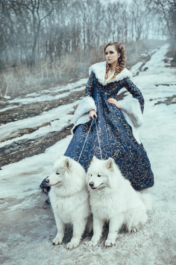 Die Frau auf Winterweg mit einem Hund lizenzfreie stockbilder