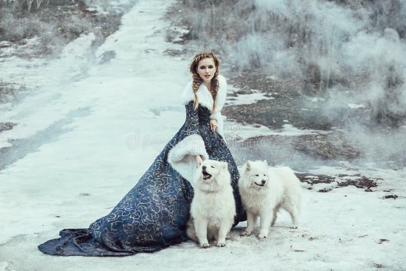Die Frau auf Winterweg mit einem Hund lizenzfreie stockfotografie