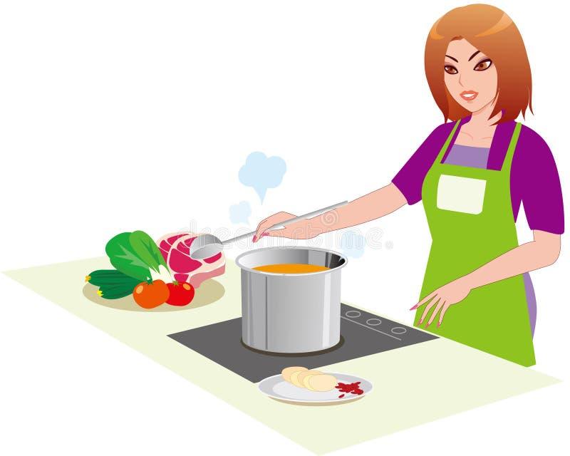 Die Frau in der Küche lizenzfreie abbildung