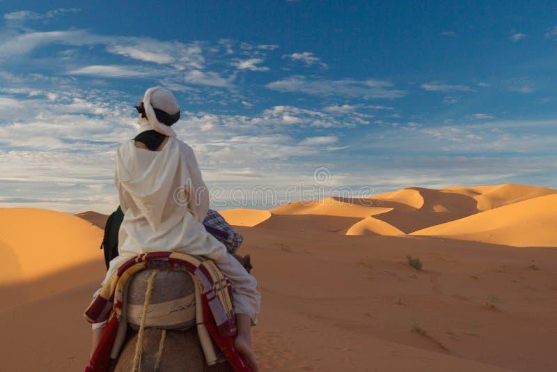 Die Frau in der Wüste stockbilder