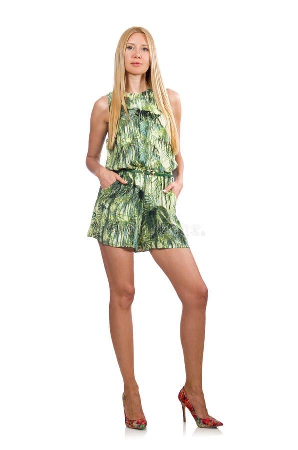 Die Frau Des Blonden Haares Die Grunes Kurzes Kleid Tragt Stockbild Bild Von Fahrwerkbeine Mini 71145453