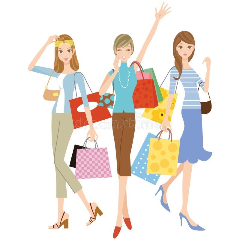 Die Frau, die das Einkaufen tut vektor abbildung