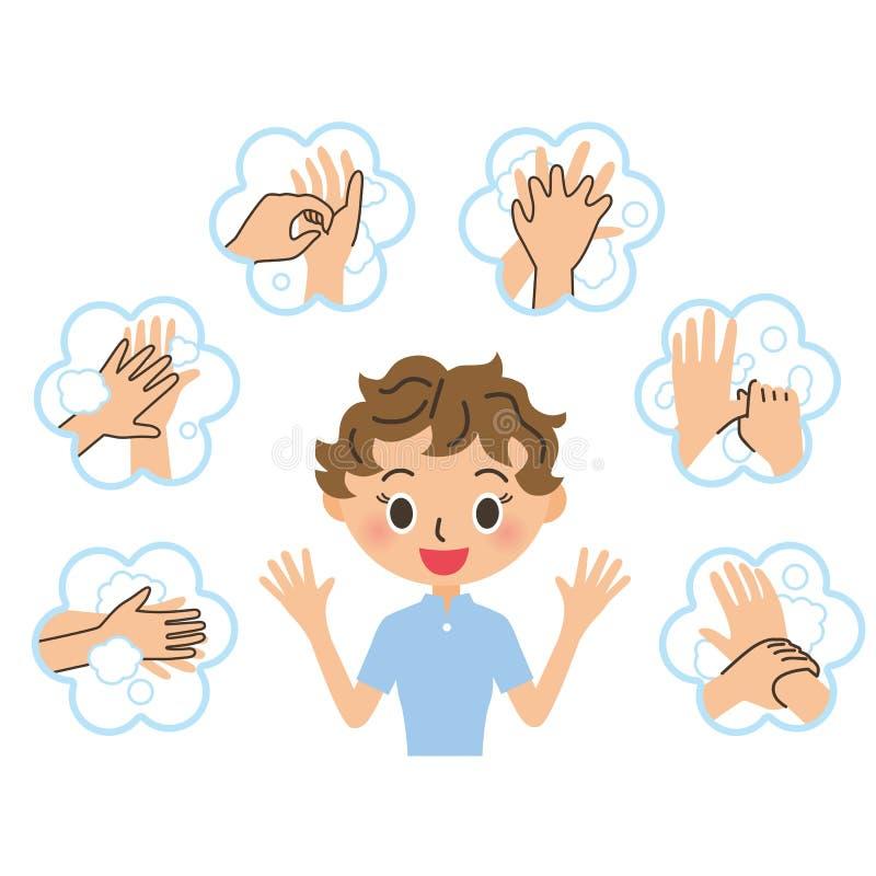 Die Frau, die erklärt, Händewaschen lizenzfreie abbildung