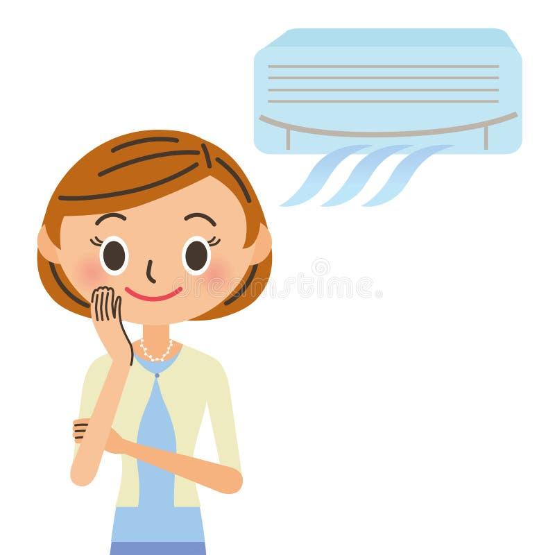 Die Frau, die mit einer Klimaanlage sich wohlfühlt stock abbildung