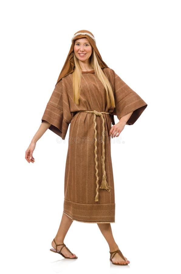 Die Frau, Die Mittelalterliche Arabische Kleidung Auf Weiß Trägt ...