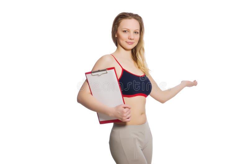 Die Frau im Sportkonzept stockbild