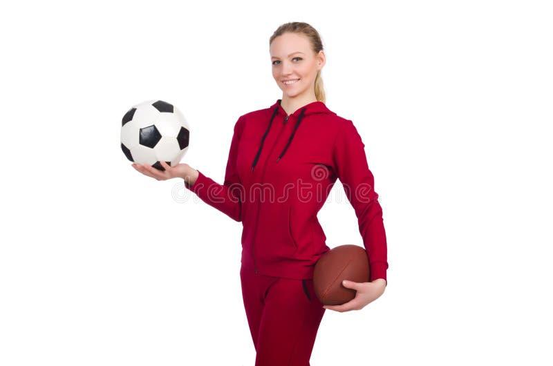 Die Frau im Sportkonzept lokalisiert auf Weiß lizenzfreie stockfotos