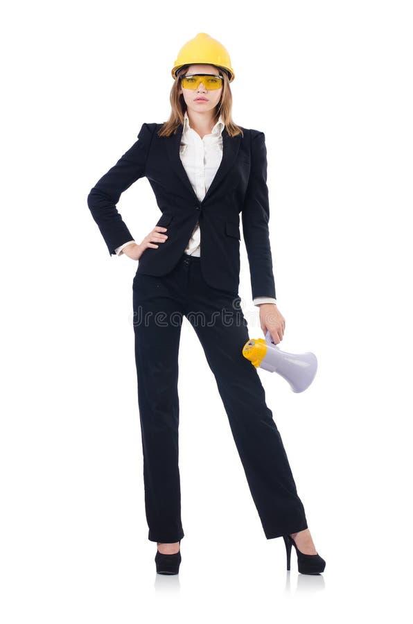 Die Frau mit dem Schutzhelm lokalisiert auf Weiß stockbild
