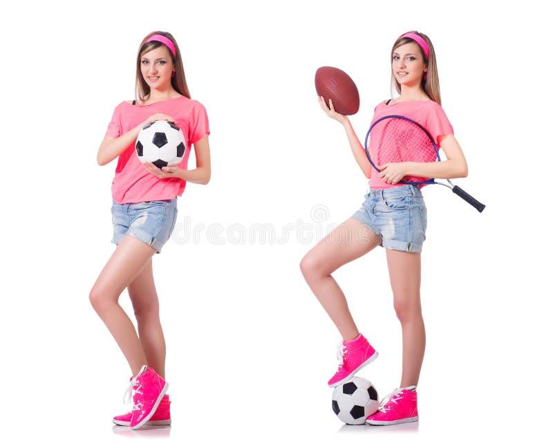 Die Frau mit Fußball auf Weiß lizenzfreie stockfotografie