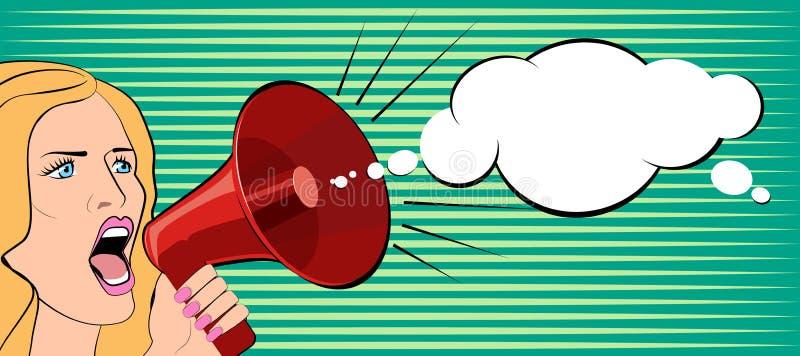 Die Frau spricht in einem Megaphon Auch im corel abgehobenen Betrag stock abbildung