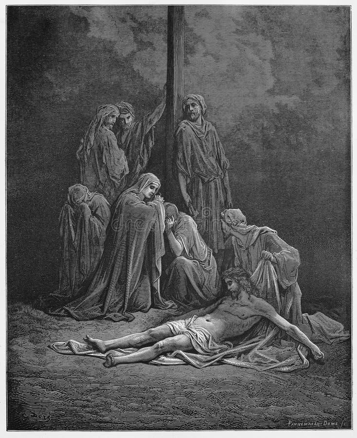 Die Frauen binden zusammen und salben Jesus-Körper vektor abbildung