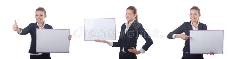Die Frauengeschäftsfrau mit leerem Brett auf Weiß lizenzfreies stockfoto