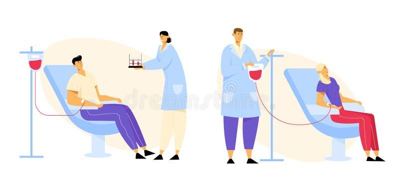 Die Freiwillig-Charaktere, die im medizinischen Krankenhaus sitzen, sitzt dem Spenden des Lebensblutes vor Doktor und Krankenschw stock abbildung