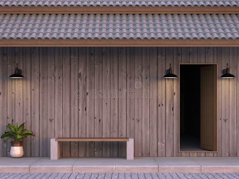 Die Front der alten Hausmauer wird vom Wiedergabebild der Planke 3d gemacht stock abbildung