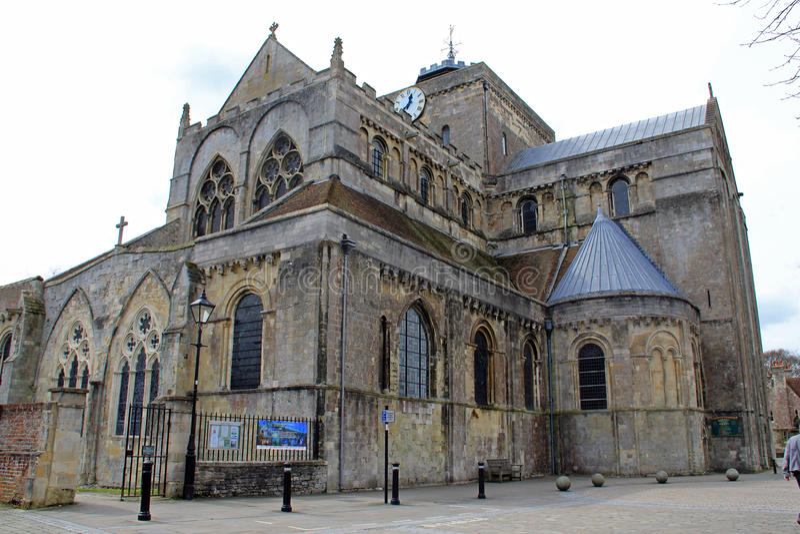 Die Front von Romsey-Abtei lizenzfreies stockbild