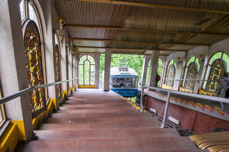 Die funikuläre Kabelbahn Kiews, Ukraine stockfotografie