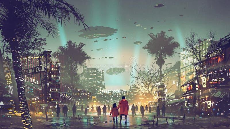 Die futuristische Stadt mit farbenfrohem Licht stockbild