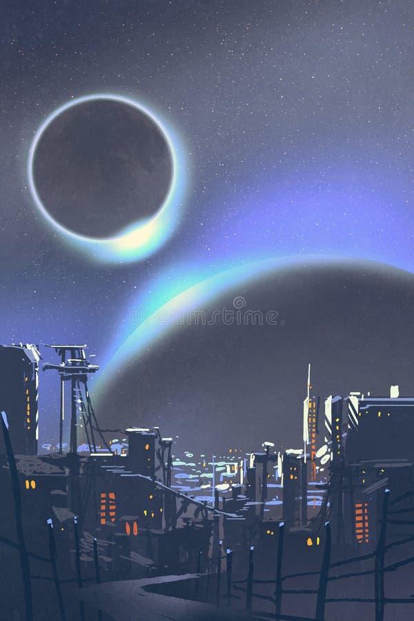 Die futuristische Stadt mit Planeten und Sonnenfinsternis auf Hintergrund lizenzfreie abbildung