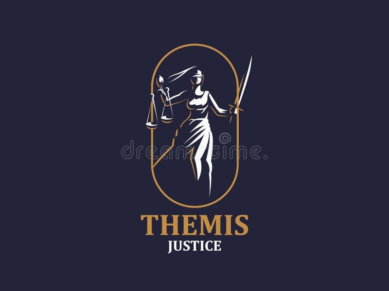 Die Göttin von Gerechtigkeit Themis lizenzfreie abbildung