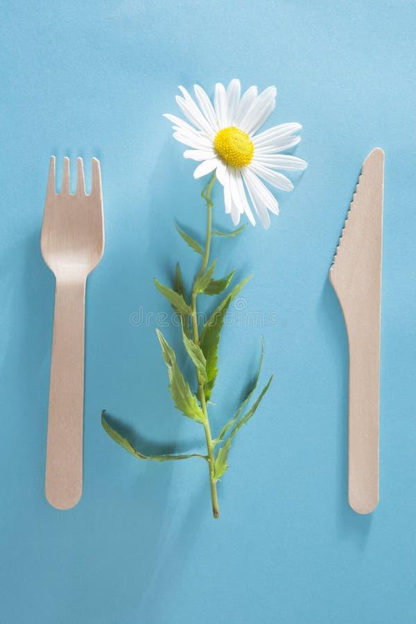 Die Gabel mit weißem Gänseblümchen des Messers auf blauem Hintergrund stockbild