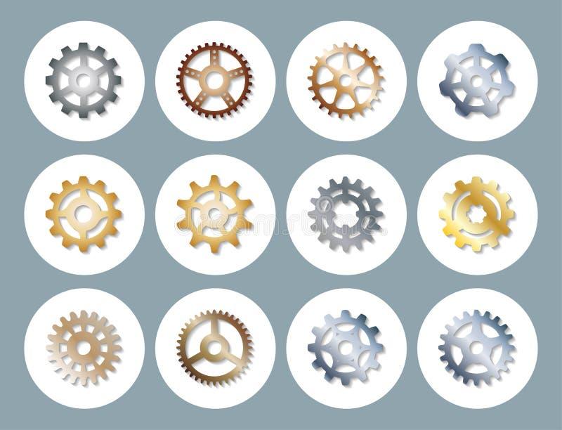 Die Gangvektor-Illustrationsmechaniker, die Web-Entwicklungs-Form übersetzen, bearbeiten Zahnmaschinenradausrüstungs-Maschineriee lizenzfreie abbildung