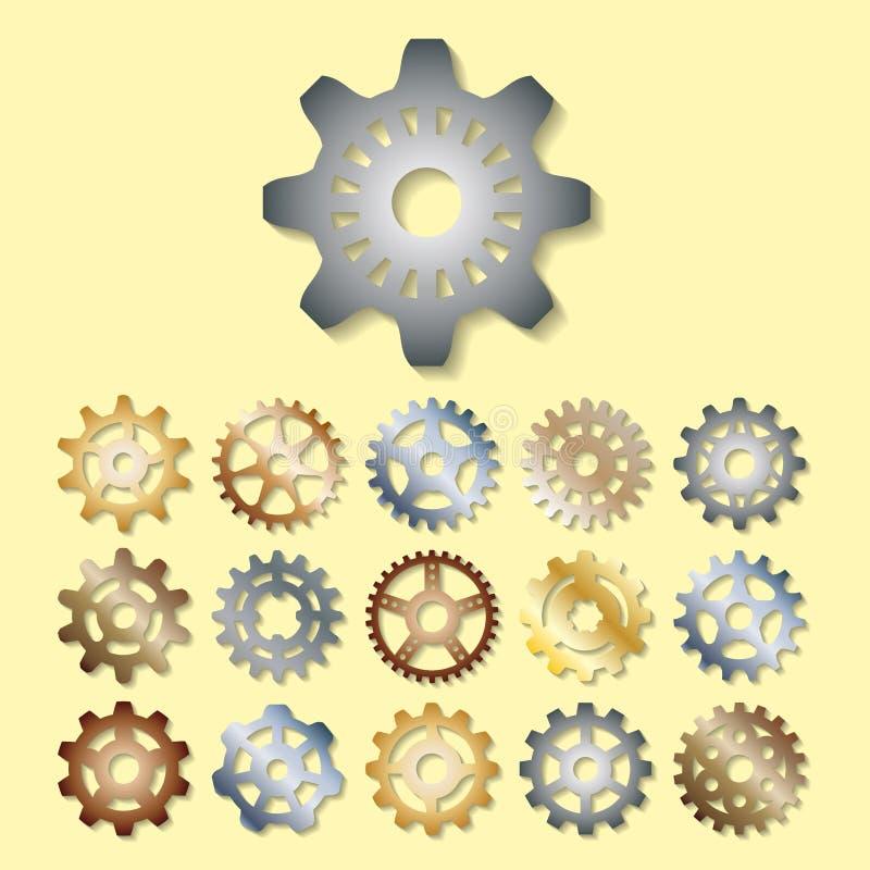 Die Gangvektor-Illustrationsmechaniker, die Web-Entwicklungs-Form übersetzen, bearbeiten Zahnmaschinenradausrüstungs-Maschineriee vektor abbildung