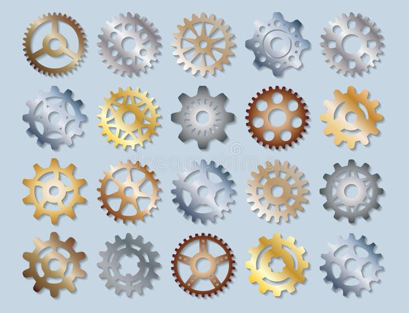 Die Gangvektor-Illustrationsmechaniker, die Web-Entwicklungs-Form übersetzen, bearbeiten Zahnmaschinenradausrüstungs-Maschineriee stock abbildung