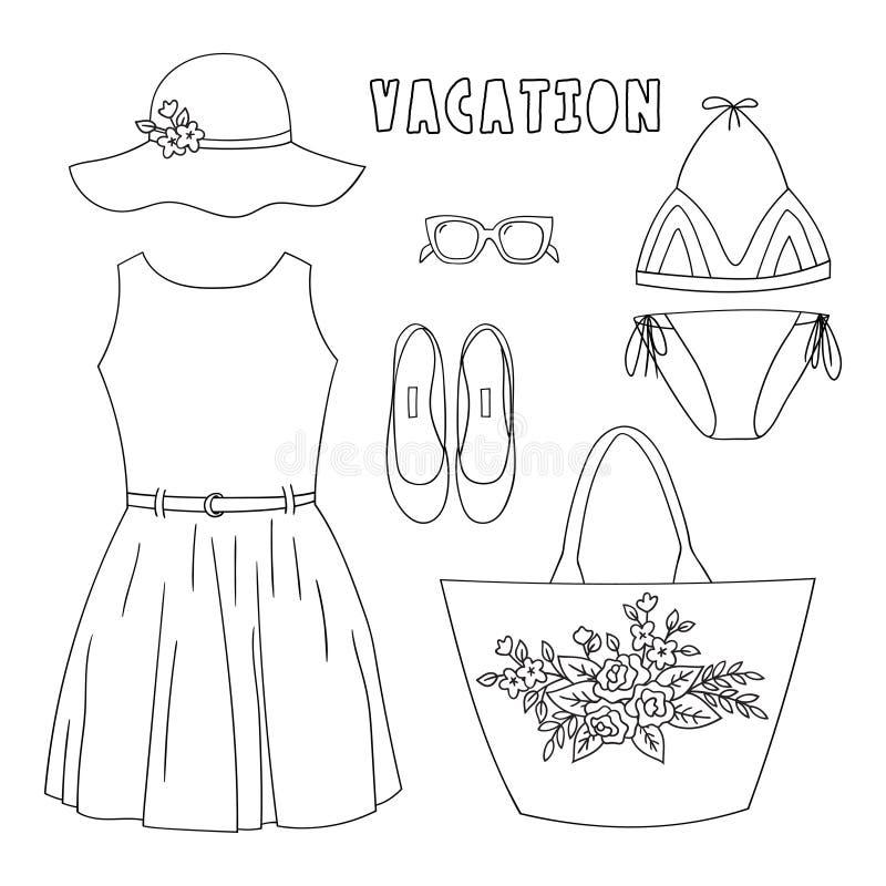 Die Garderobe der modernen Sommerfrauen Stellen Sie von der Kleidung und von den Zusätzen in der Gekritzelart ein vektor abbildung