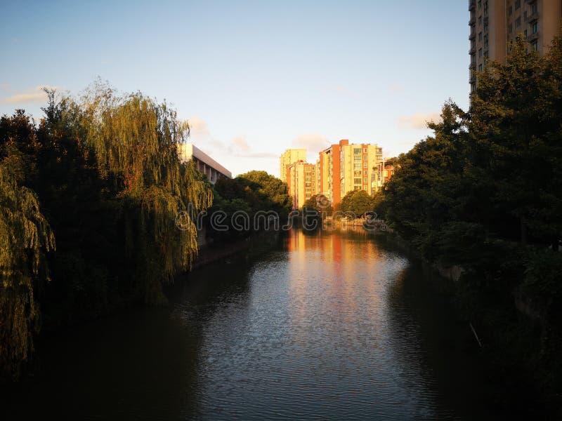 Die Gebäude, die über den ruhigen Fluss nachdenken stockbild