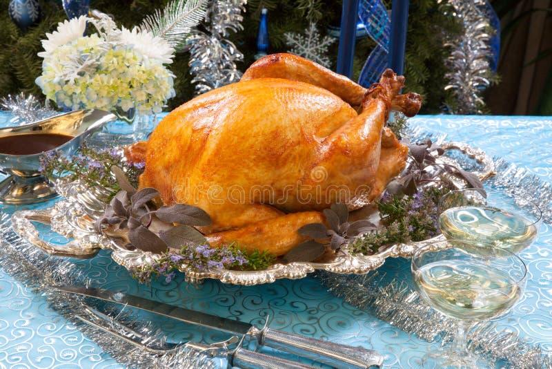 Die gebratene Türkei für weiße Weihnacht stockfoto