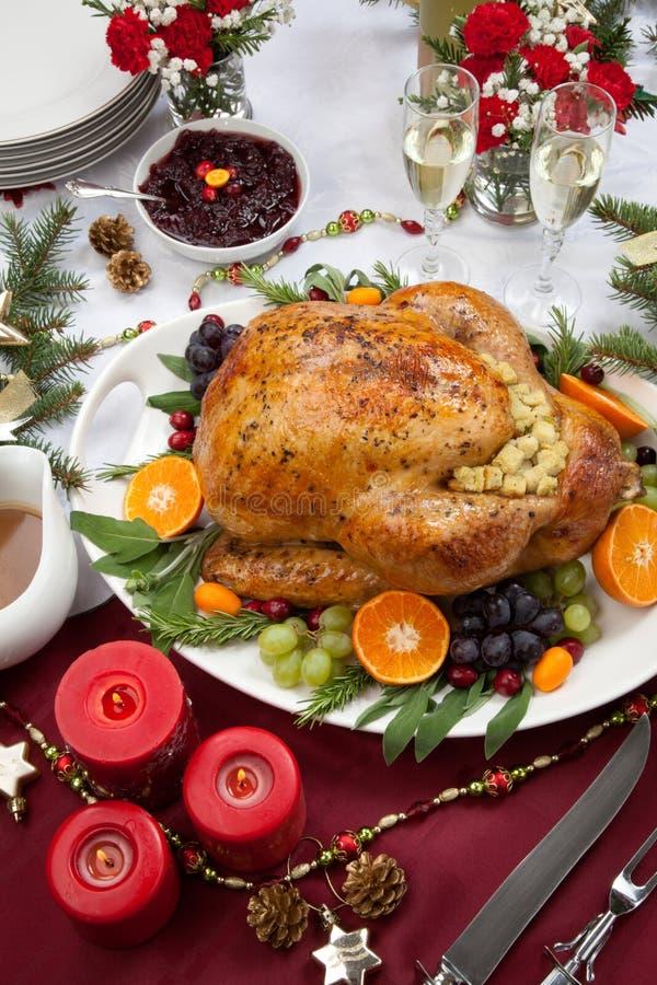 Die gebratene Türkei für Weihnachtsessen stockfotografie