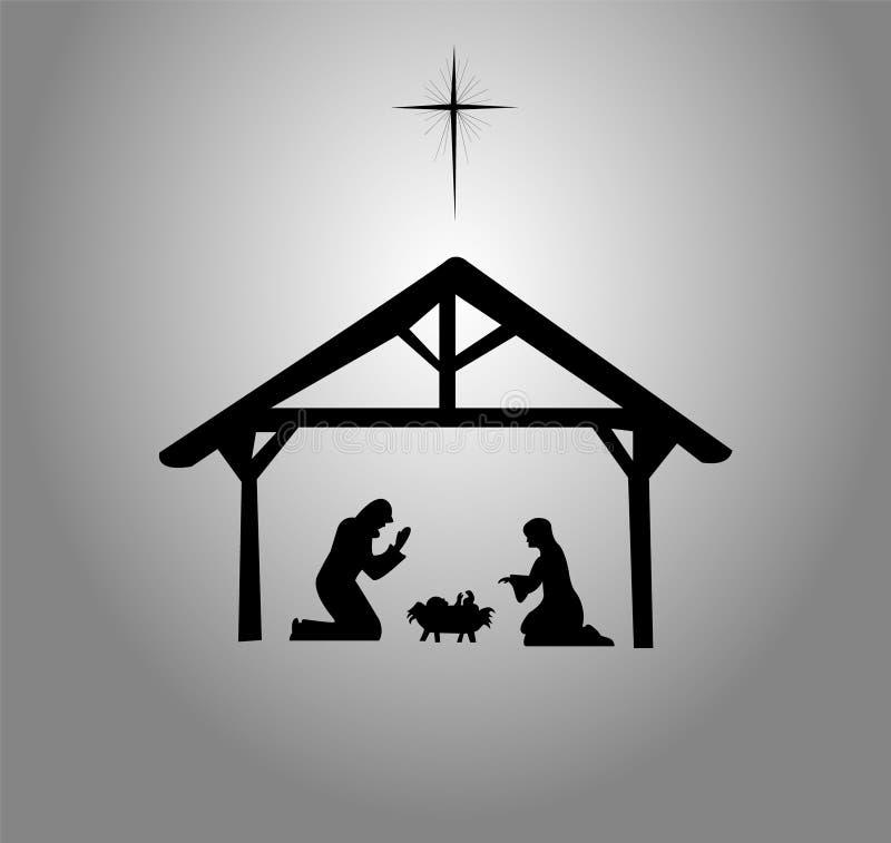 Die Geburt Christi von Jesus Christ Bethlehem-Stern lizenzfreie abbildung